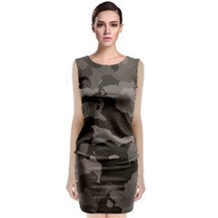 Background For Scrapbooking Or Other Camouflage Patterns Beige And Brown Sleeveless Velvet Midi Dress