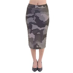 Background For Scrapbooking Or Other Camouflage Patterns Beige And Brown Velvet Midi Pencil Skirt
