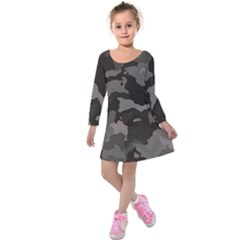 Background For Scrapbooking Or Other Camouflage Patterns Beige And Brown Kids  Long Sleeve Velvet Dress