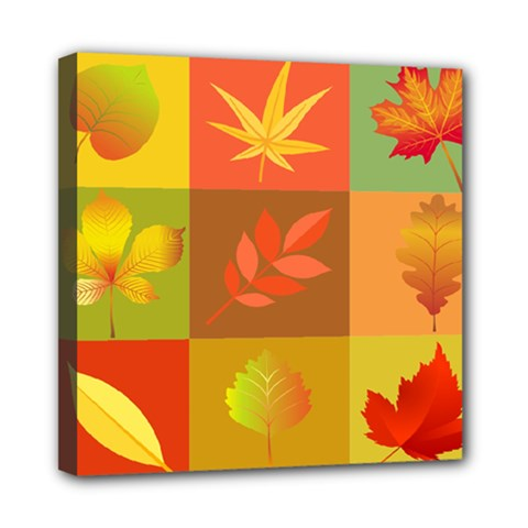 Autumn Leaves Colorful Fall Foliage Mini Canvas 8  x 8
