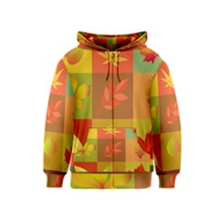 Autumn Leaves Colorful Fall Foliage Kids  Zipper Hoodie
