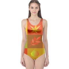 Autumn Leaves Colorful Fall Foliage One Piece Swimsuit