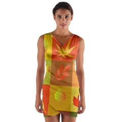 Autumn Leaves Colorful Fall Foliage Wrap Front Bodycon Dress