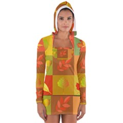 Autumn Leaves Colorful Fall Foliage Women s Long Sleeve Hooded T-shirt