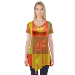 Autumn Leaves Colorful Fall Foliage Short Sleeve Tunic