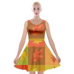 Autumn Leaves Colorful Fall Foliage Velvet Skater Dress