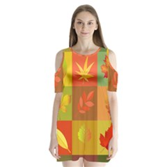 Autumn Leaves Colorful Fall Foliage Shoulder Cutout Velvet  One Piece