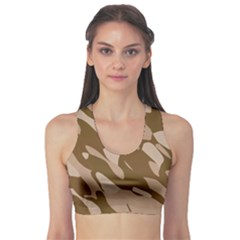 Background For Scrapbooking Or Other Beige And Brown Camouflage Patterns Sports Bra