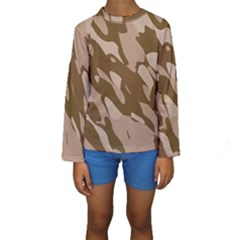 Background For Scrapbooking Or Other Beige And Brown Camouflage Patterns Kids  Long Sleeve Swimwear