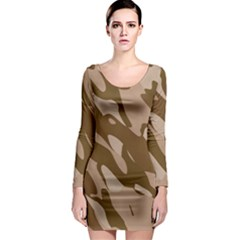 Background For Scrapbooking Or Other Beige And Brown Camouflage Patterns Long Sleeve Bodycon Dress