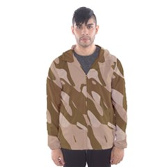 Background For Scrapbooking Or Other Beige And Brown Camouflage Patterns Hooded Wind Breaker (Men)