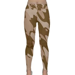 Background For Scrapbooking Or Other Beige And Brown Camouflage Patterns Classic Yoga Leggings