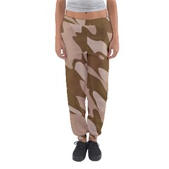 Background For Scrapbooking Or Other Beige And Brown Camouflage Patterns Women s Jogger Sweatpants