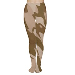 Background For Scrapbooking Or Other Beige And Brown Camouflage Patterns Women s Tights