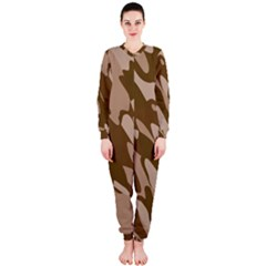 Background For Scrapbooking Or Other Beige And Brown Camouflage Patterns OnePiece Jumpsuit (Ladies)