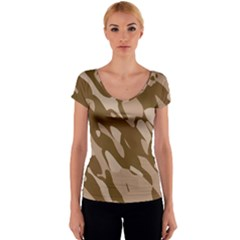 Background For Scrapbooking Or Other Beige And Brown Camouflage Patterns Women s V-Neck Cap Sleeve Top