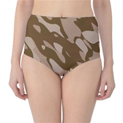 Background For Scrapbooking Or Other Beige And Brown Camouflage Patterns High Waist Bikini Bottoms