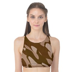 Background For Scrapbooking Or Other Beige And Brown Camouflage Patterns Tank Bikini Top