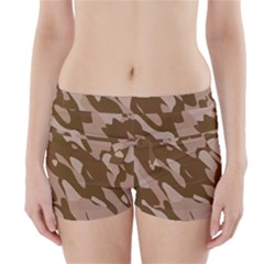 Background For Scrapbooking Or Other Beige And Brown Camouflage Patterns Boyleg Bikini Wrap Bottoms