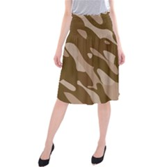 Background For Scrapbooking Or Other Beige And Brown Camouflage Patterns Midi Beach Skirt