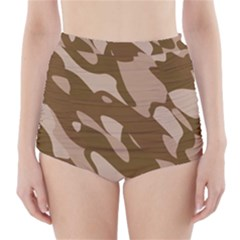 Background For Scrapbooking Or Other Beige And Brown Camouflage Patterns High-Waisted Bikini Bottoms