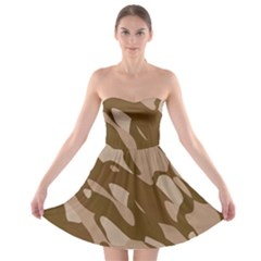 Background For Scrapbooking Or Other Beige And Brown Camouflage Patterns Strapless Bra Top Dress