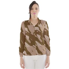 Background For Scrapbooking Or Other Beige And Brown Camouflage Patterns Wind Breaker (Women)