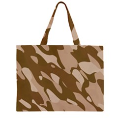 Background For Scrapbooking Or Other Beige And Brown Camouflage Patterns Zipper Large Tote Bag