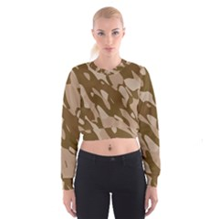 Background For Scrapbooking Or Other Beige And Brown Camouflage Patterns Women s Cropped Sweatshirt