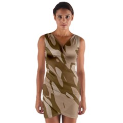 Background For Scrapbooking Or Other Beige And Brown Camouflage Patterns Wrap Front Bodycon Dress