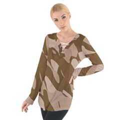 Background For Scrapbooking Or Other Beige And Brown Camouflage Patterns Women s Tie Up Tee