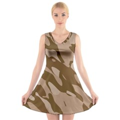 Background For Scrapbooking Or Other Beige And Brown Camouflage Patterns V Neck Sleeveless Skater Dress