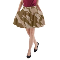 Background For Scrapbooking Or Other Beige And Brown Camouflage Patterns A-Line Pocket Skirt