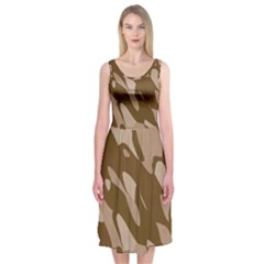 Background For Scrapbooking Or Other Beige And Brown Camouflage Patterns Midi Sleeveless Dress