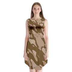 Background For Scrapbooking Or Other Beige And Brown Camouflage Patterns Sleeveless Chiffon Dress