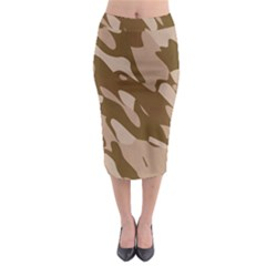 Background For Scrapbooking Or Other Beige And Brown Camouflage Patterns Midi Pencil Skirt