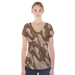 Background For Scrapbooking Or Other Beige And Brown Camouflage Patterns Short Sleeve Front Detail Top