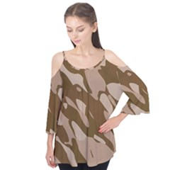 Background For Scrapbooking Or Other Beige And Brown Camouflage Patterns Flutter Tees