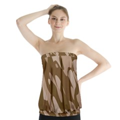 Background For Scrapbooking Or Other Beige And Brown Camouflage Patterns Strapless Top