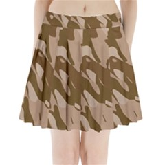 Background For Scrapbooking Or Other Beige And Brown Camouflage Patterns Pleated Mini Skirt