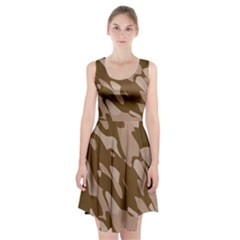Background For Scrapbooking Or Other Beige And Brown Camouflage Patterns Racerback Midi Dress