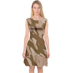 Background For Scrapbooking Or Other Beige And Brown Camouflage Patterns Capsleeve Midi Dress