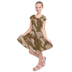 Background For Scrapbooking Or Other Beige And Brown Camouflage Patterns Kids  Short Sleeve Dress