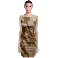 Background For Scrapbooking Or Other Beige And Brown Camouflage Patterns Sleeveless Velvet Midi Dress