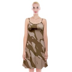 Background For Scrapbooking Or Other Beige And Brown Camouflage Patterns Spaghetti Strap Velvet Dress