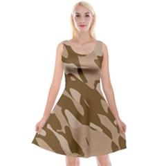 Background For Scrapbooking Or Other Beige And Brown Camouflage Patterns Reversible Velvet Sleeveless Dress
