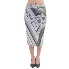 Arches Fractal Chaos Church Arch Velvet Midi Pencil Skirt