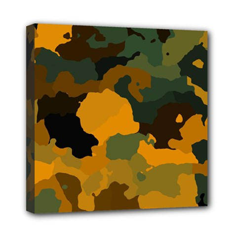 Background For Scrapbooking Or Other Camouflage Patterns Orange And Green Mini Canvas 8  x 8