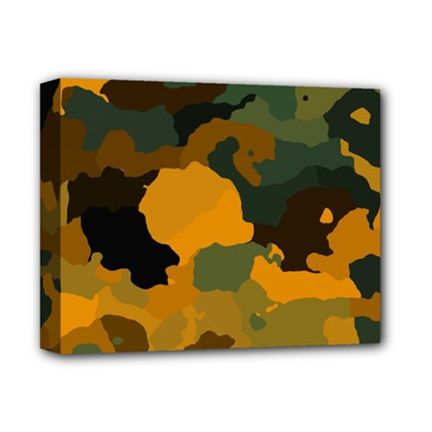 Background For Scrapbooking Or Other Camouflage Patterns Orange And Green Deluxe Canvas 14  x 11