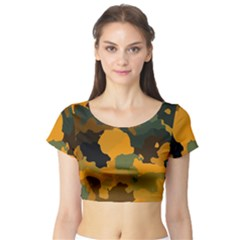 Background For Scrapbooking Or Other Camouflage Patterns Orange And Green Short Sleeve Crop Top (Tight Fit)